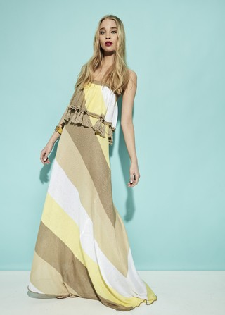 VESTIDO LARGO STRAPLESS SUNSHINE ART 2202