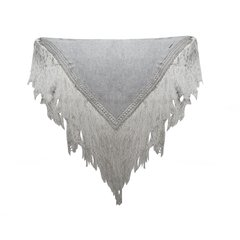AZUCENA SHAWL WITH SATIN FRINGES AND CROCHETED DETAILS (WINTER VERSION) CODE 2927 - online store