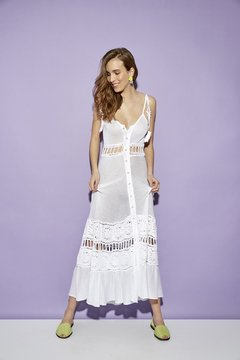 GOLDFINCH LONG DRESS WITH CROCHET DETAILS CODE 2609