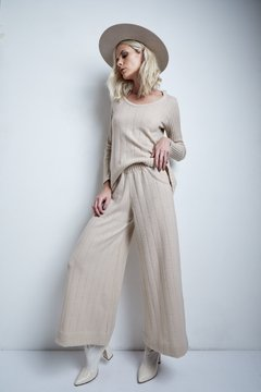 CIPRES FLANNEL WIDE PANTS WITH OPENWORK LINES CODE 2404