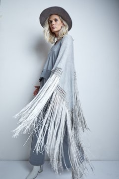 AZUCENA SHAWL WITH SATIN FRINGES AND CROCHETED DETAILS (WINTER VERSION) CODE 2927 - Agostina Bianchi