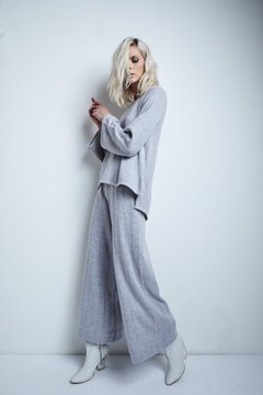 Image of CIPRES FLANNEL WIDE PANTS WITH OPENWORK LINES CODE 2404
