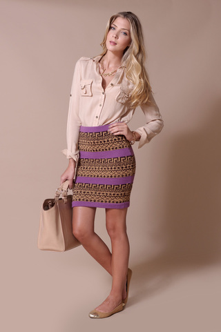 Jacquard Pencil Skirt Code 1708