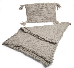 XXL UNSPUN WOOL STOCKINETTE PILLOW COVER WITH TASSELS AND BURLAP COVER BACK 0,65 X 0,45M CODE 2047 - Agostina Bianchi