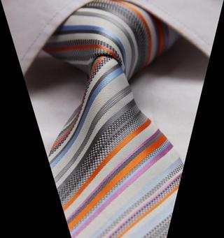 #GA915 Orange Gray Stripe Jacquard Woven Classic 100%Silk Man Tie Necktie