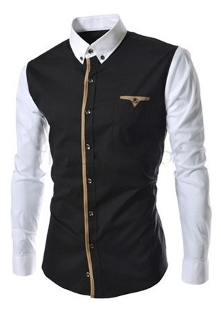 Modern Casual Shirt in Two Colors - Front Details and in the Pocket - Black and Gray