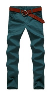 Casual Slim Fit Straight Pants Modern - Green Blue - buy online