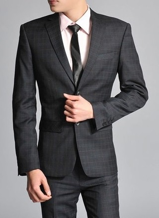 Modern Checkered Suit - Pant and Two Button Blazer - Black