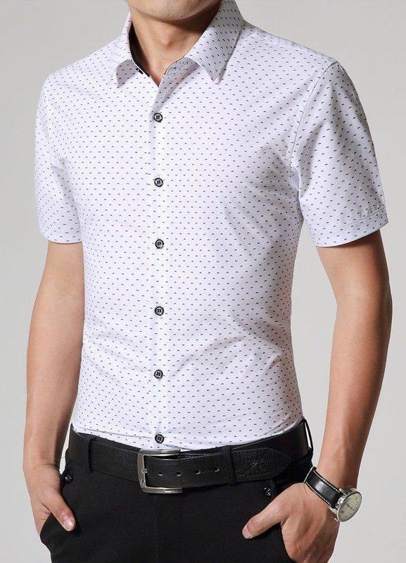 Camisa Casual Slim Fit Fashion Manga Corta - Diseño Moderno - Blanca 04f82649f6f