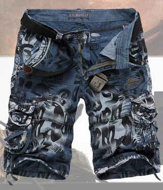 shorts Casual Military Style with Pockets - Print Details - Blue, Gray and Green