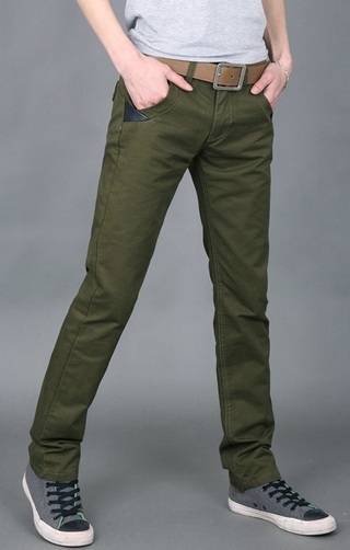 Pantalon Recto Fashion Clasico - Verde Militar