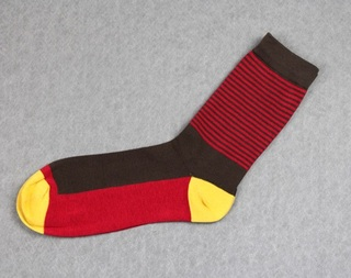 Colorful Modern Fashion Sock - Red/Brown