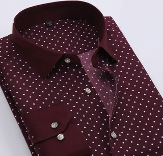 Shirt Casual / Social Plus Size Style Polka - Points - Wine