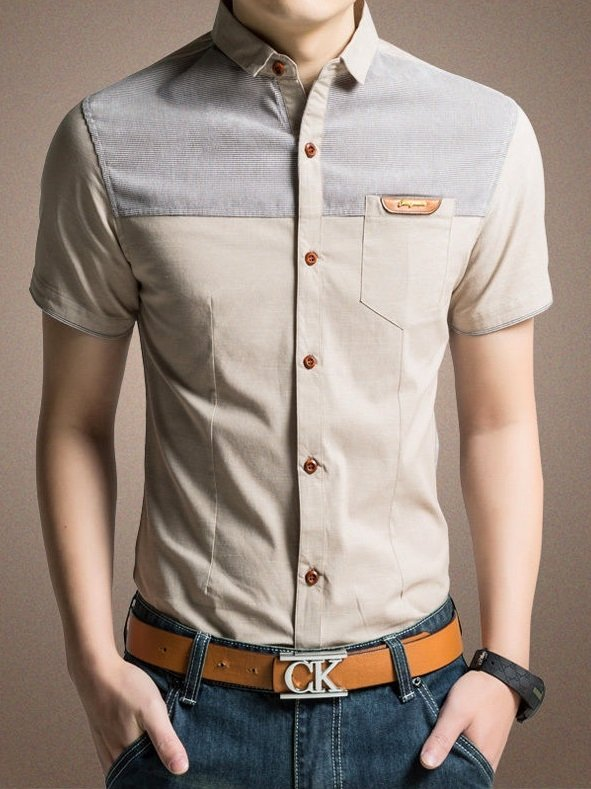 Camisa Casual Manga Corta Slim Fit Trendy en Dos Colores - Khaki