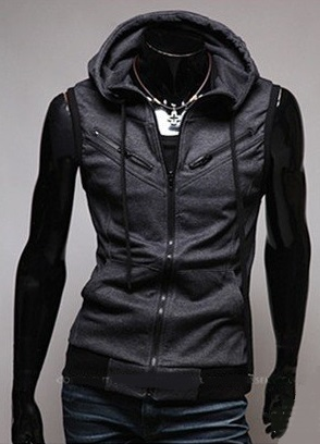 Casual Vest with Hoodie and Chest Detail - Dark Grey