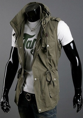 Modern Fashion Vest with Pockets - Green