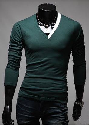 Camiseta Casual Fashion con Cuello en V Bicolor - en 4 Colores