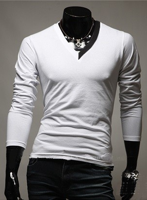 Camiseta Casual Fashion con Cuello en V Bicolor - en 4 Colores - comprar online
