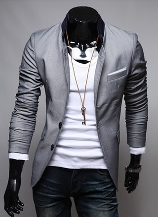Blazer Casual Slim Fit Fashion Style Two Buttons with Details in the Neck - Gray, Black and Pink - buy online