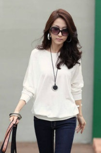 Casual Loose Blouse with sleeves Castings - White