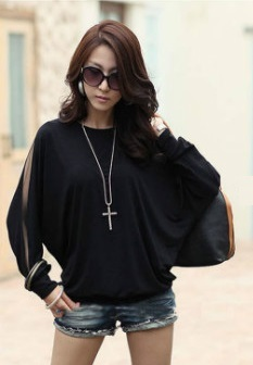 Casual Loose Blouse with sleeves Castings - Black