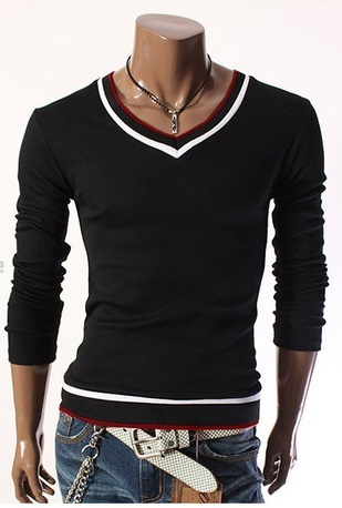Casual T-Shirt Young - V-Neck whit Details - in Black, Red and White