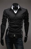 Social Shirt / Casual Slim Fit with Details - Gray, White and Black on internet