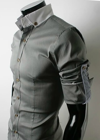 Casual Slim Fit Shirt Neck Detail and Pulses - Gray, Blue and Black - buy online