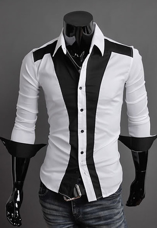 Casual Slim Fit Shirt Luxury Style in Two Colors - White/Black and Black/White
