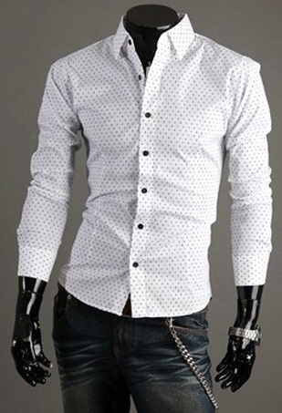 Silm Fit Casual Shirt Details Points - White (6106) - buy online