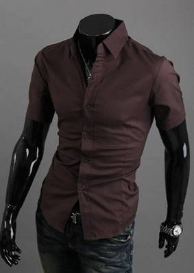 Camisa Casual Slim Fit Manga Corta - Cafe