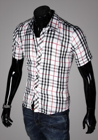 Casual Young Shirt - Checked - White / Black