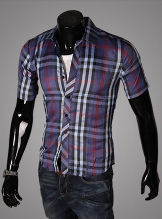 Casual Young Shirt - Checked - Dark Blue