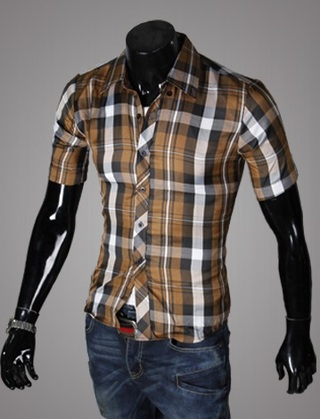 Casual Young Shirt - Checked - Brown