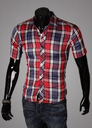 Casual Young Shirt - Checked - Red  / Dark Blue