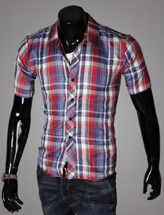 Casual Young Shirt - Checked - Red  / Dark