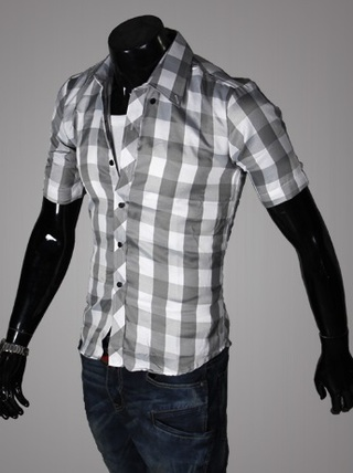 Casual Young Shirt - Checked - Gray / White