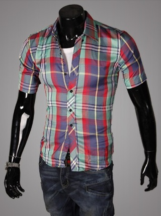 Casual Young Shirt - Checked - Red / Green
