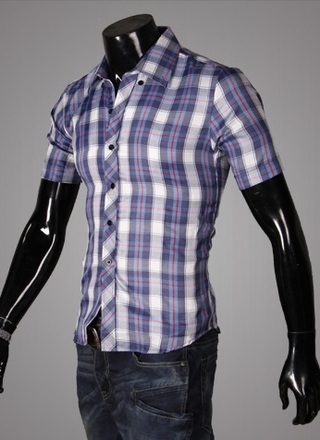 Casual Young Shirt - Checked - Dark Blue / White