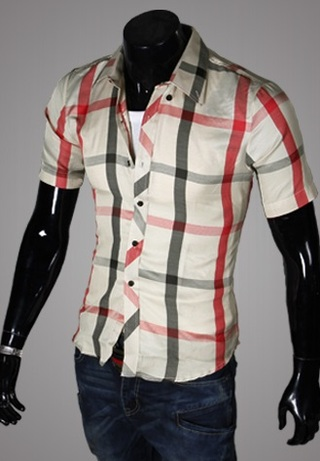 Casual Young Shirt - Checked - Beige / Red