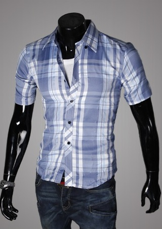 Casual Young Shirt - Checked - Blue / White