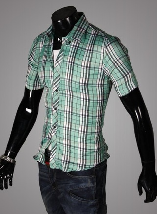 Casual Young Shirt - Checked - Green / White