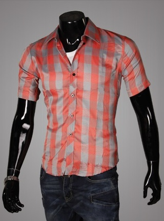 Casual Young Shirt - Checked - Orange / Gray