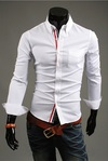 Slim Fit Shirt with Over View Social Front - in Blue, White and Dark Blue - buy online