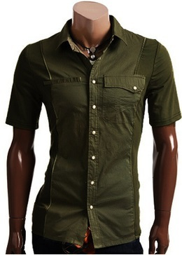 Casual Shirt Youth Short Sleeve -Army Green