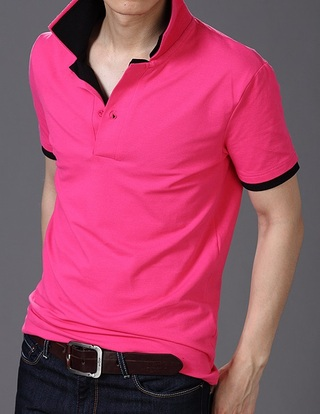 Polo Shirt Modern with Black Neck - Pink, Green and White