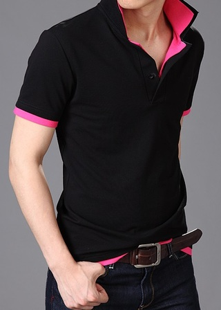 Polo Shirt Modern with neck in Color - Black and White