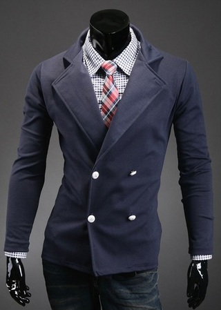 Blazer Style Coat - Double Breasted - Dark Blue