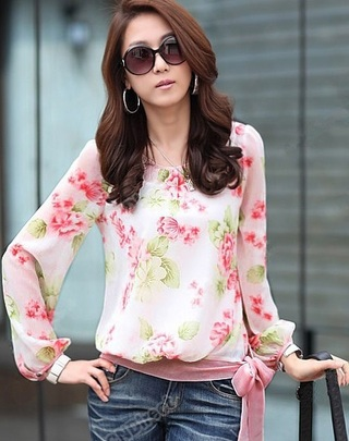 Spring Floral Blouse with Tie at the Waist - Pink