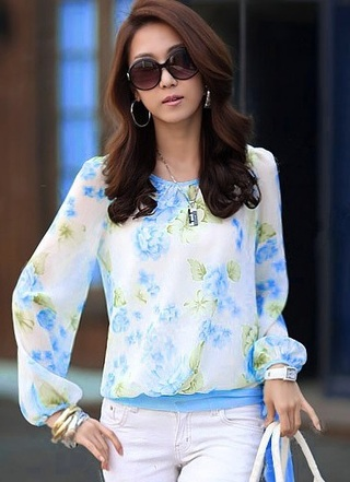Spring Floral Blouse with Tie at the Waist - Blue